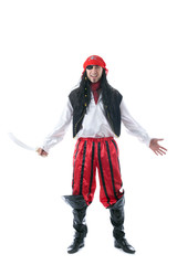 Cheerful man in pirate costume, isolated on white