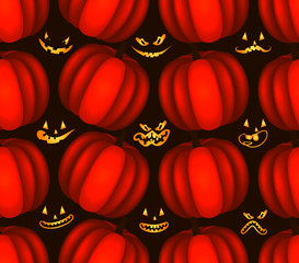 seamless pattern with ghost faces and pumpkins