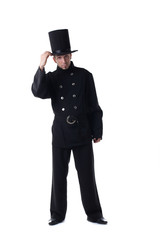 Male model posing in costume of chimney sweep
