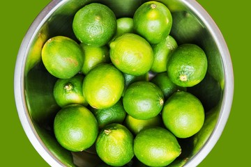 Fresh Limes in Metal Bowl