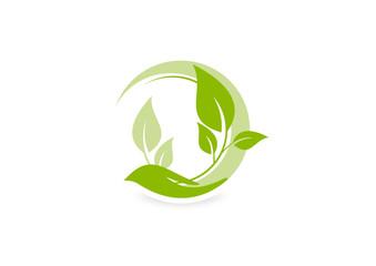 growth care logo, abstract ecology design vector