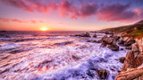 Fototapety Beautiful sunset over California coast