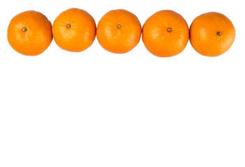 A row of Mandarin orange fruit over white background