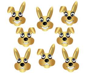 3D vector bunny rabbit golden color