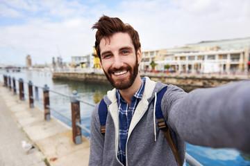 smiling selfie tourist