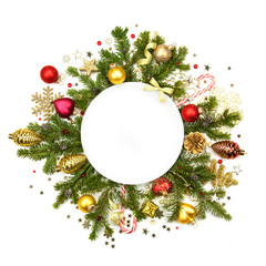 White Christmas white round  with baubles, stars and fir -  isol
