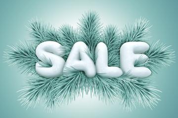 winter sale announcement, commercial banner, snow text