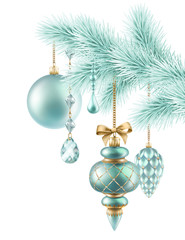 Christmas background, fir twigs and hanging balls ornaments