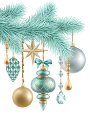 Christmas background, fir branch and hanging balls ornaments