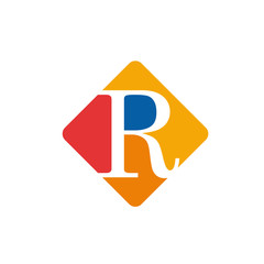Vector color sign initial letter R
