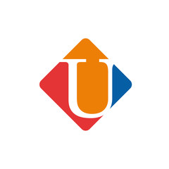 Vector color sign initial letter U