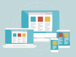 Responsive web design concept. Flat design web icons