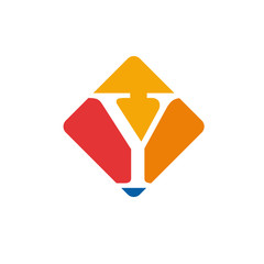 Vector color sign initial letter Y