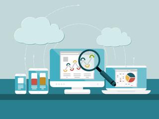 Website analytics concept. Flat design web icons