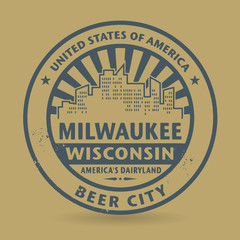 Grunge rubber stamp with name of Milwaukee, Wisconsin