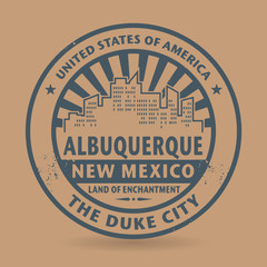 Grunge rubber stamp with name of Albuquerque, New Mexico