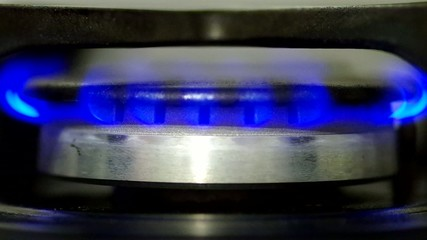 Gas burner burning blue flame
