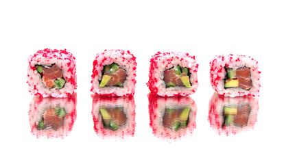 Japanese rolls with a mirror reflection. white background.