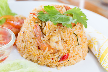 fried rice with shrimp close up