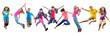 Leinwanddruck Bild - happy children exercising and jumping over white