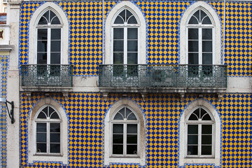 Checked Pattern Facade of a Traditional Building