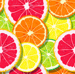 Fresh pattern with slices of citrus fruits