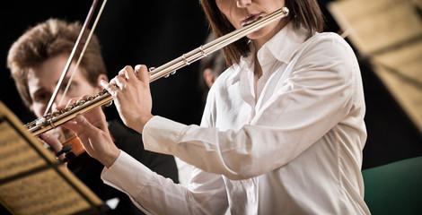 Flutist on stage