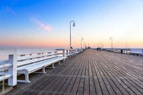Sunrise at wooden pier in Sopot over Baltic sea, Poland