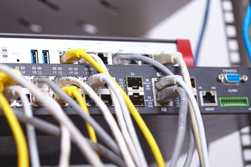 network cables connected to switch