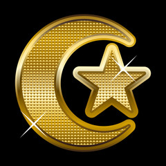 Illustration of a golden crescent and star, symbol of Islam