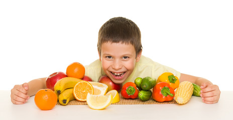 boy with fruits and vegetables
