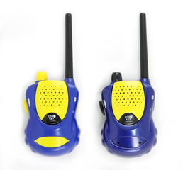 blue couple walky talky isolated