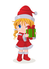 Cartoon illustration of a girl in Santa costume