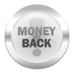 money back chrome web icon isolated