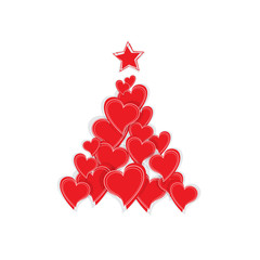 Vector Christmas tree with hearts