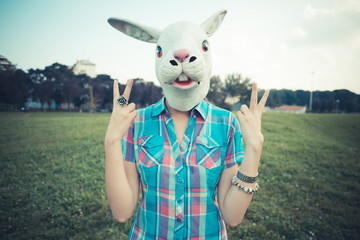 rabbit mask absurd beautiful young hipster woman