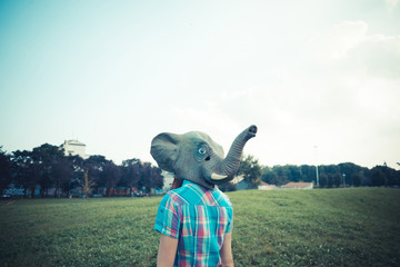 elephant mask beautiful young hipster woman
