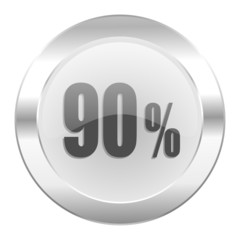 90 percent chrome web icon isolated