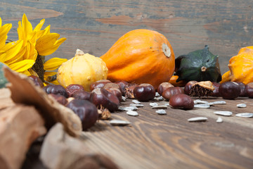 Autumn fruits on table
