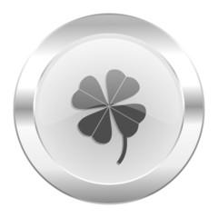 four-leaf clover chrome web icon isolated