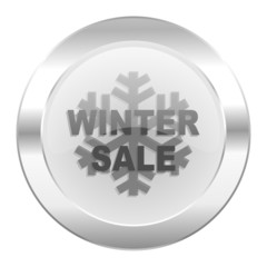winter sale chrome web icon isolated