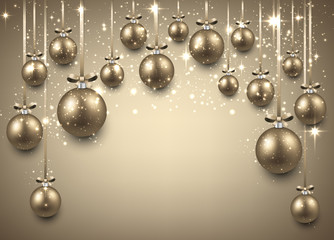 Arc background with golden christmas balls.