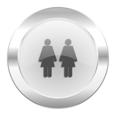 couple chrome web icon isolated