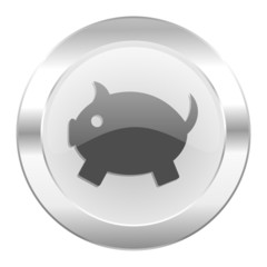 piggy bank chrome web icon isolated