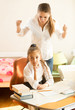 angry mother swears on daughter doing homework