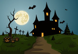 Scary Halloween background scene with castle and full moon