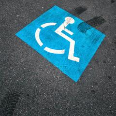 Blue color invalid parking sign