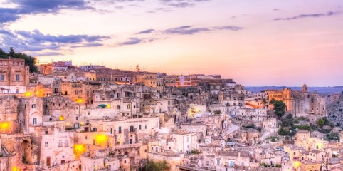 View of Matera at sunset, European Capital of Culture 2019