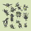 Happy monsters vector illustrations. Mega Set 4