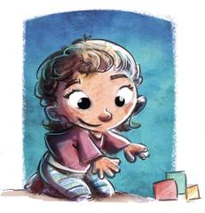 niña pequeña jugando